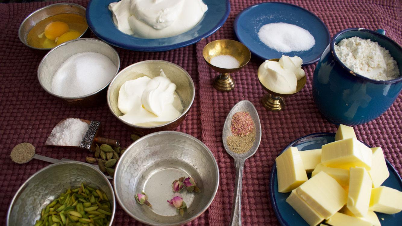 rose, cardamom and pistachio cheese tart