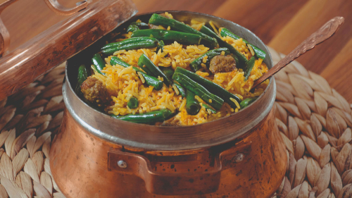 green bean meatballs rice