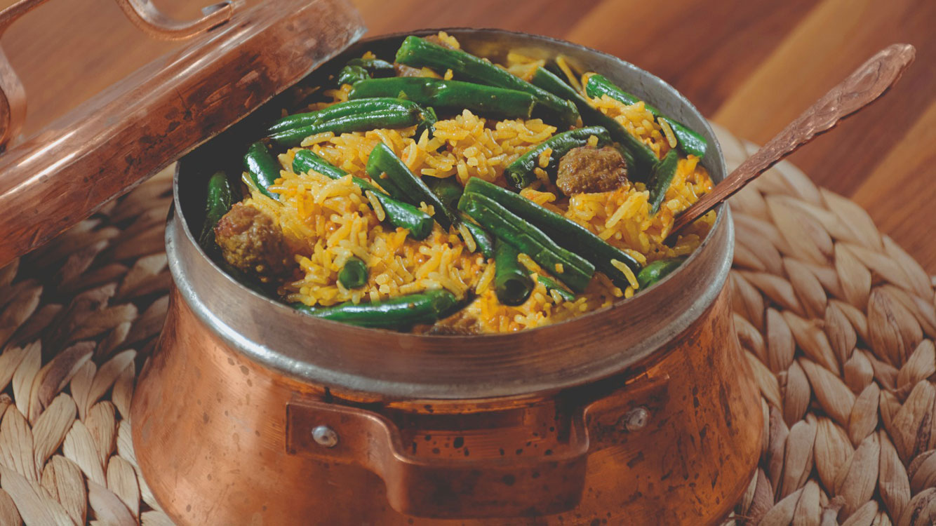 green bean meatball rice