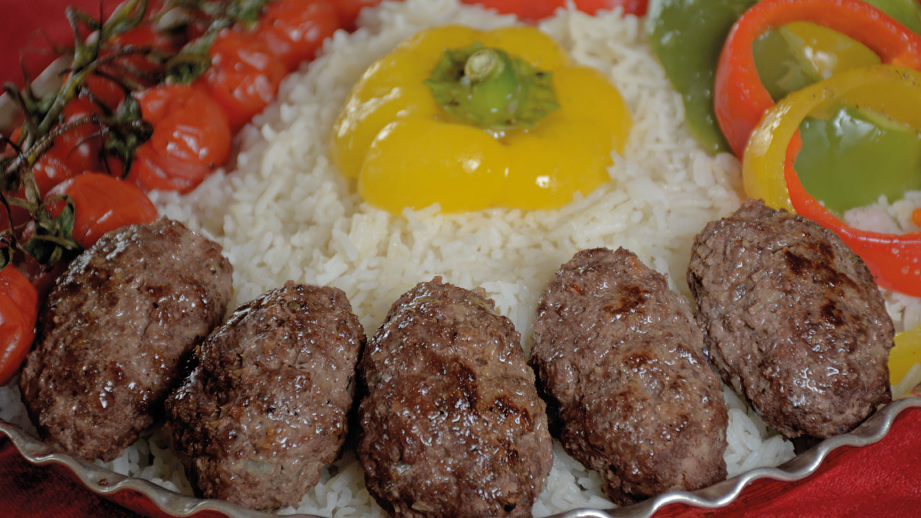pan fried kebabs with rice